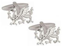 Dalaco 90-1080 Welsh Dragon Cut Out Rhodium Plated Cufflinks